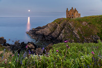 Moonset at Dunskey Castle